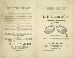 Advert For L. K. Leon & Co, Opticians